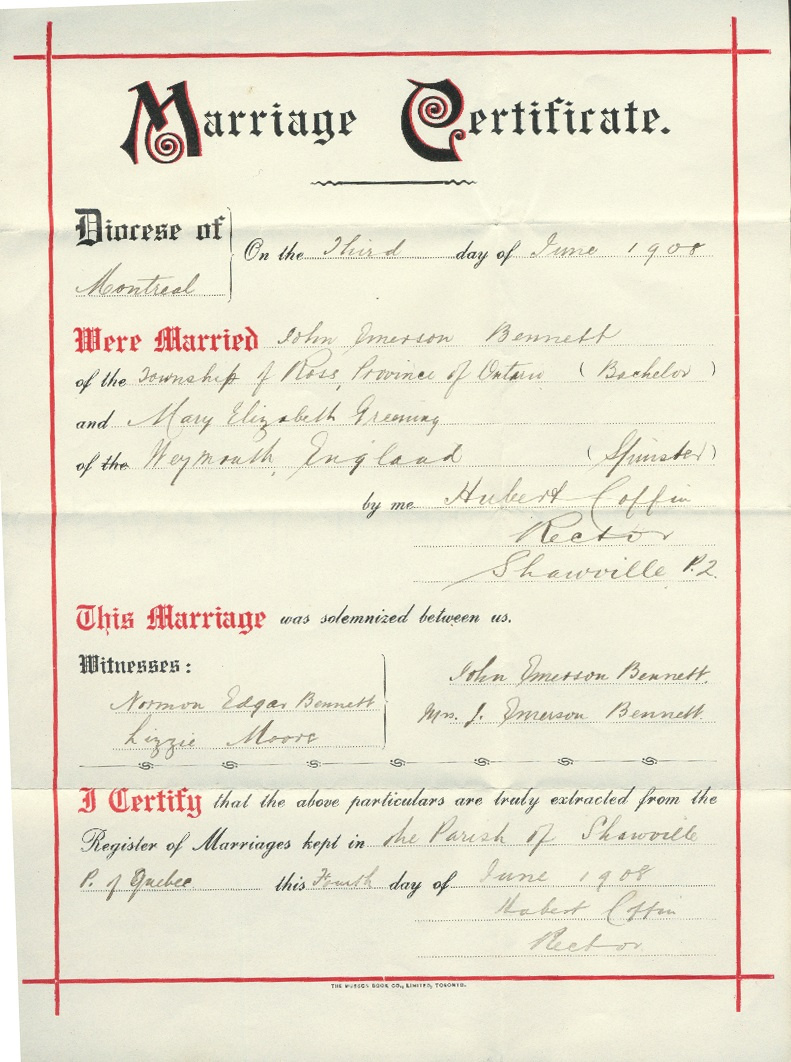 Documents: 01617-Bennett, John Emerson & Mary Elizabeth nee Greening